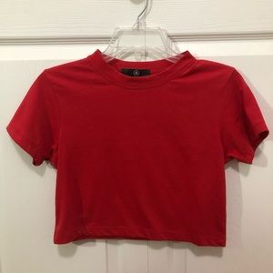 Red Crop Top T Shirt